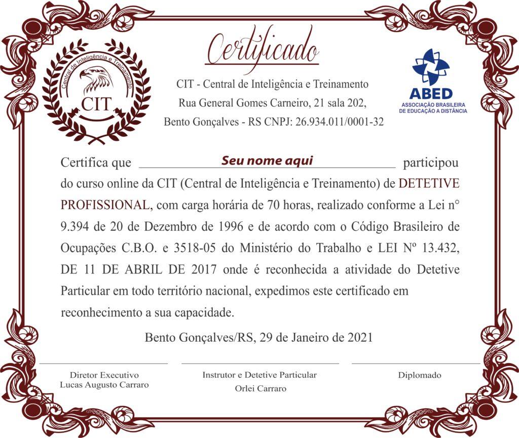 certificado detetive